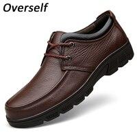 Uomo Dress Shoes Punta Rotonda Comodo Ufficio Oxford Formale maschile scarpe Per Gli Uomini Cuoio Genuino Della Mucca Più grande Formato EUR 38-47