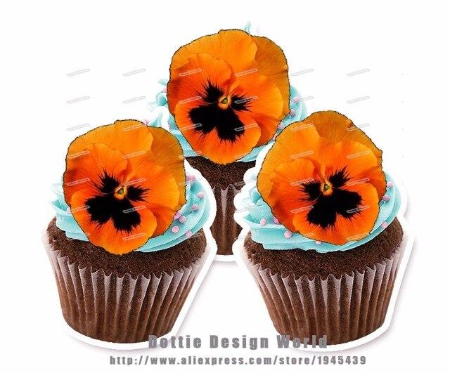 24 Orange Pensees Fleur Comestibles Gateau Topper Plaquette Riz