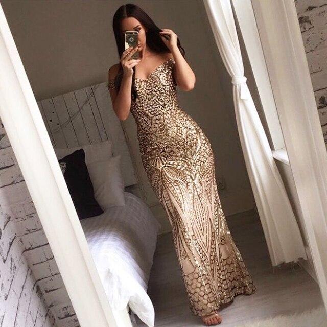 Slash шеи блестками платье с открытыми плечами спинки золото облегающее Макси платье ретро Длина пола вечернее платья