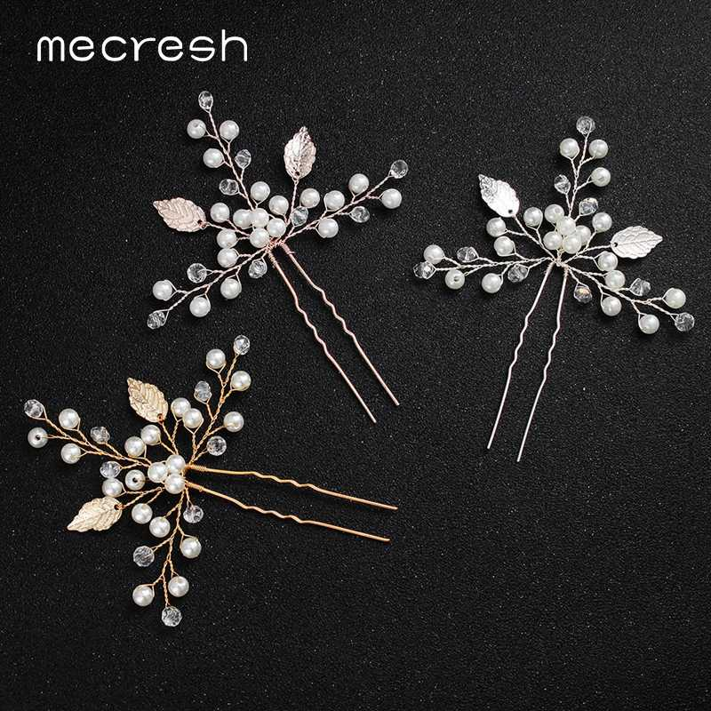 Mecresh 2pcs/lot Handmade Simulated Pearl Hair Pins Bridal Headpiece Silver Gold Rosegold Color Leaf Wedding Hair Piece MTS078