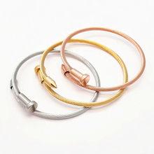 Hot Screw New Fashion Lady Stainless Steel Nail Bracelet&bangles Rose Gold Color Bracelets for Women Men Lovers Gift