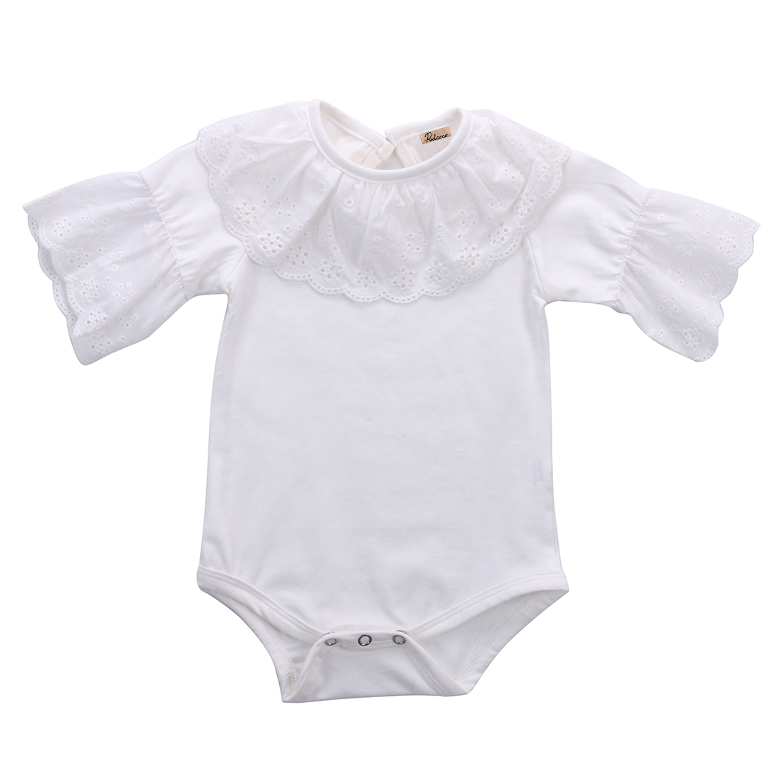 Lace Collar Baby Girls Kids Clothes Short Sleeve Romper Jumpsuit One-pieces Fashion Lovely Cute 2 Colors Solid Outfits