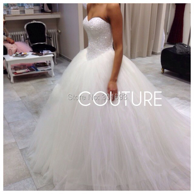 Ow104 Oumeiya Tulle Sweetheart Brush Train Princess Ball Gown