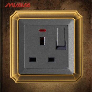 Mvava 13A cambiar enchufe de pared con indicador Reino Unido estándar receptáculo con 1 Gang lujo panel de bronce envío gratis