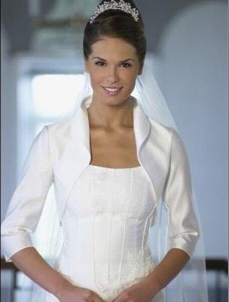 mode manches nouveau satin charpe de mariage veste bolro de mariage manteau de marie wraps blanc et ivoire haussement soir pa - Bolro Mariage Ivoire