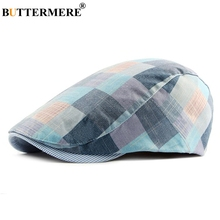 BUTTERMERE Men Women Beret Hat Cotton Blue Flat Cap British Style Vintage Spring Summer Male Female Outdoor Casual