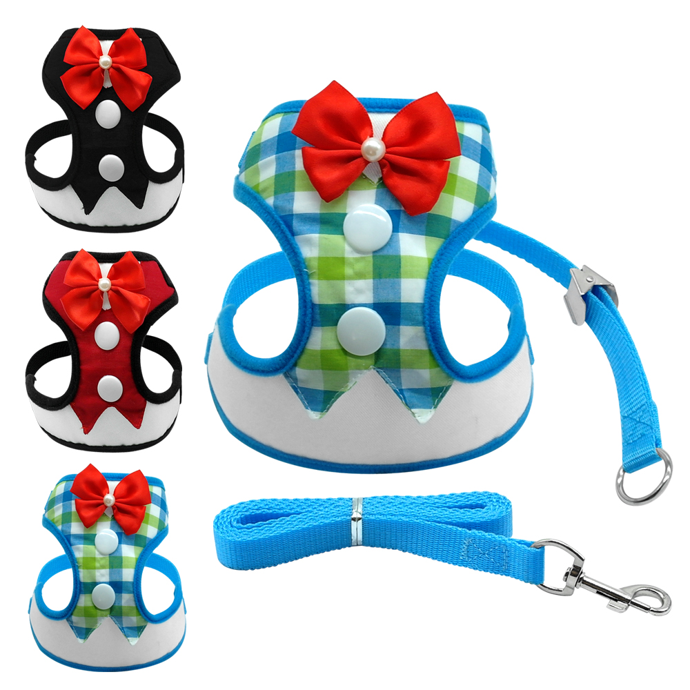 Mesh Dog Party Harness Small Bowtie Pet <font><b>Tuxedo</b></font> Harness Vest and Leash For Chihuahua <font><b>Teddy</b></font> Yorkie