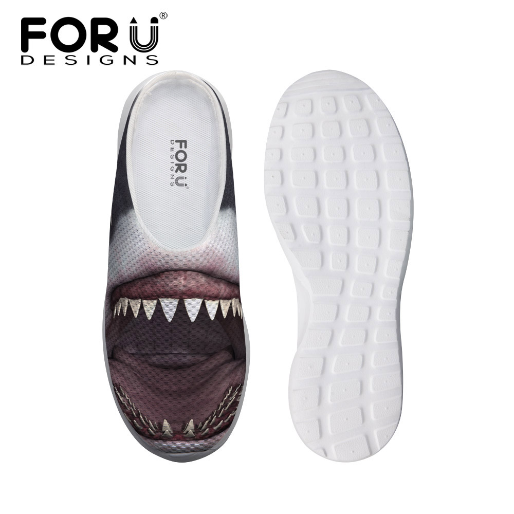 FORUDESIGNS 2018 Summer Mens Sandals Cool Shark 3D Animals Dinosaur Tiger Printed Mesh Shoes for Men Male Slip-on Flat Sandals