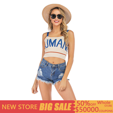 summer tops for women 2019 Sexy color matching letters sleeveless sling tops Knit vest women wearing short summer mujer verano