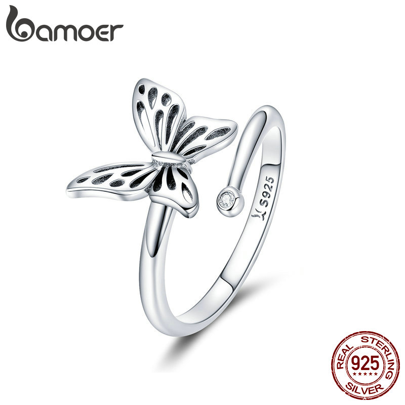 BAMOER Authentic 925 Sterling Silver Vintage Butterfly Adjustable Finger Rings for Women Wedding Engagement Ring Jewelry SCR448 mariposa en plata anillo