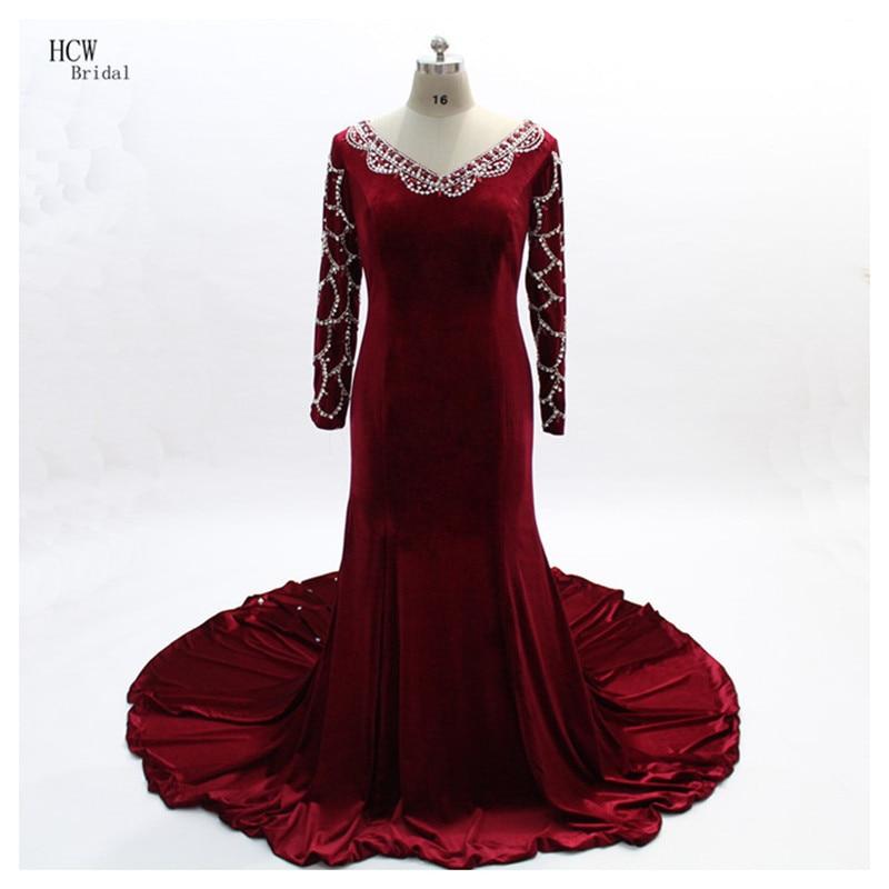 Burgundy Mermaid Velvet Evening Dress 2018 V Neck Long Sleeve Chic