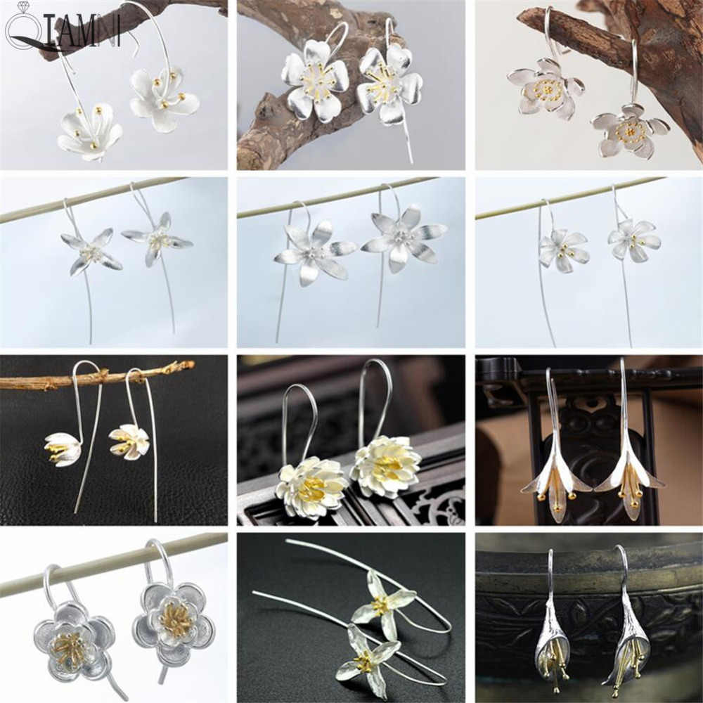 QIAMNI Women's Elegant Boho Beautiful Lotus Orchid Flower Piercing Long Dangle Drop Earring Girl Wedding Gift Brincos Pendientes