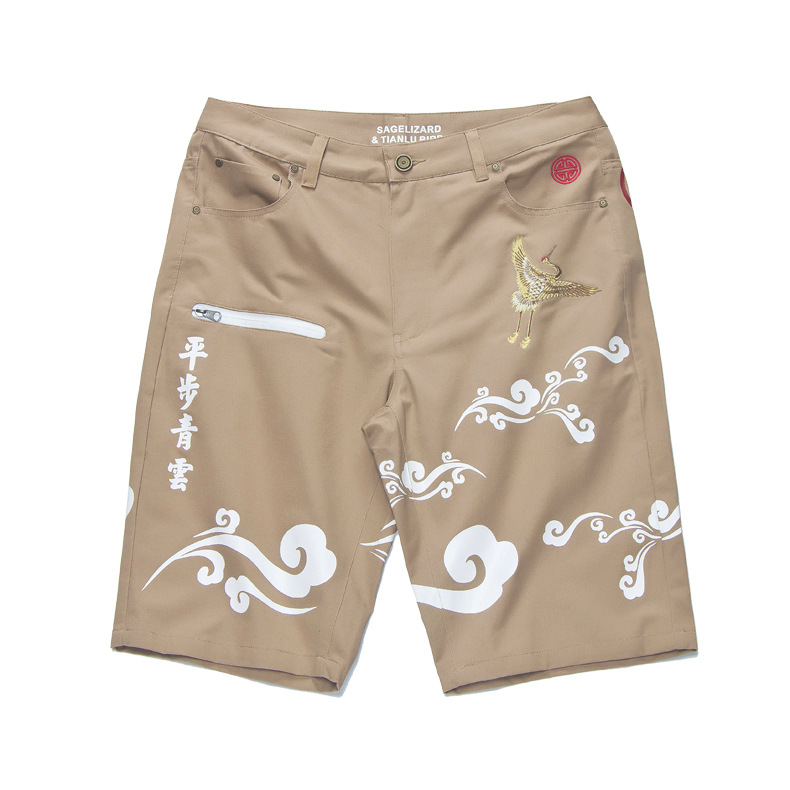 VOGUELEO New Summer Shorts Men's Loose Chinese Style Casual Pants 2019 Thin  Boy's  Cotton Embroidery(China)