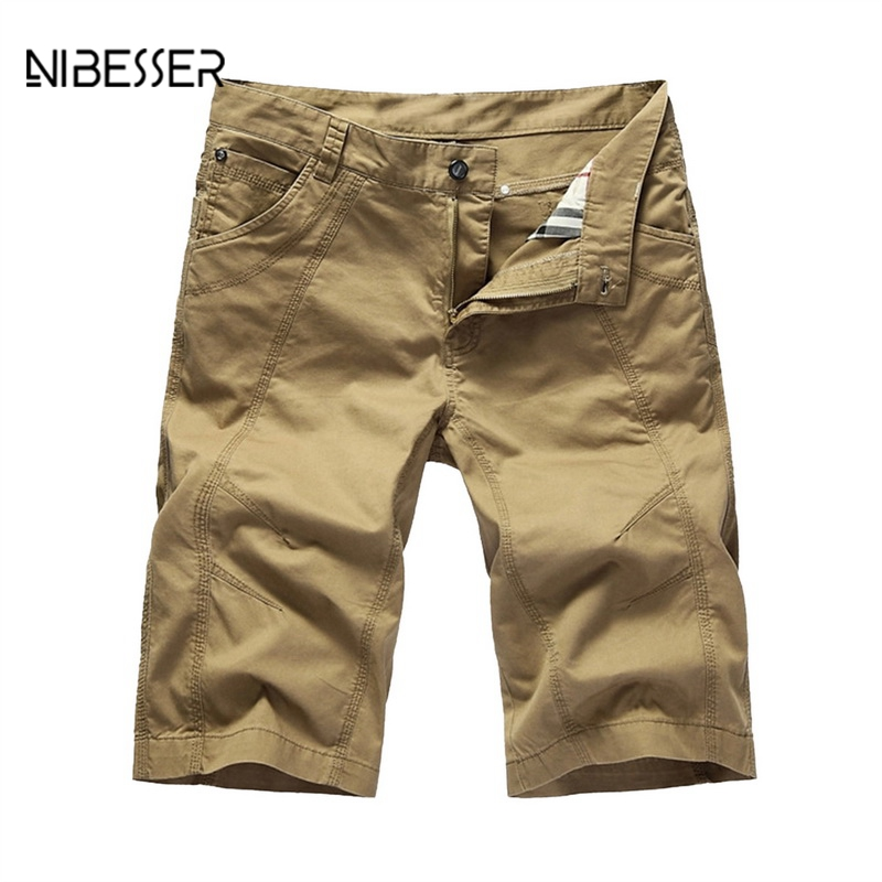 NIBESSER Casual Shorts Men 2018 Summer Solid Baggy Shorts Military Zipper Cargo Shorts Mens Tactical Short Plus Size Clothing