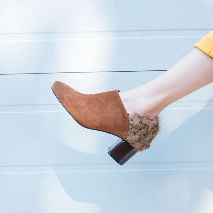 as Show Rond De Chaussures En Pompes Les Sélections Nouveau Nu Mules Show Daim Toutes Fourrure Femme Défilé Haut Chunky Bout Dos Glissement Du 2018 Talon Mode Noir As A84xXnF