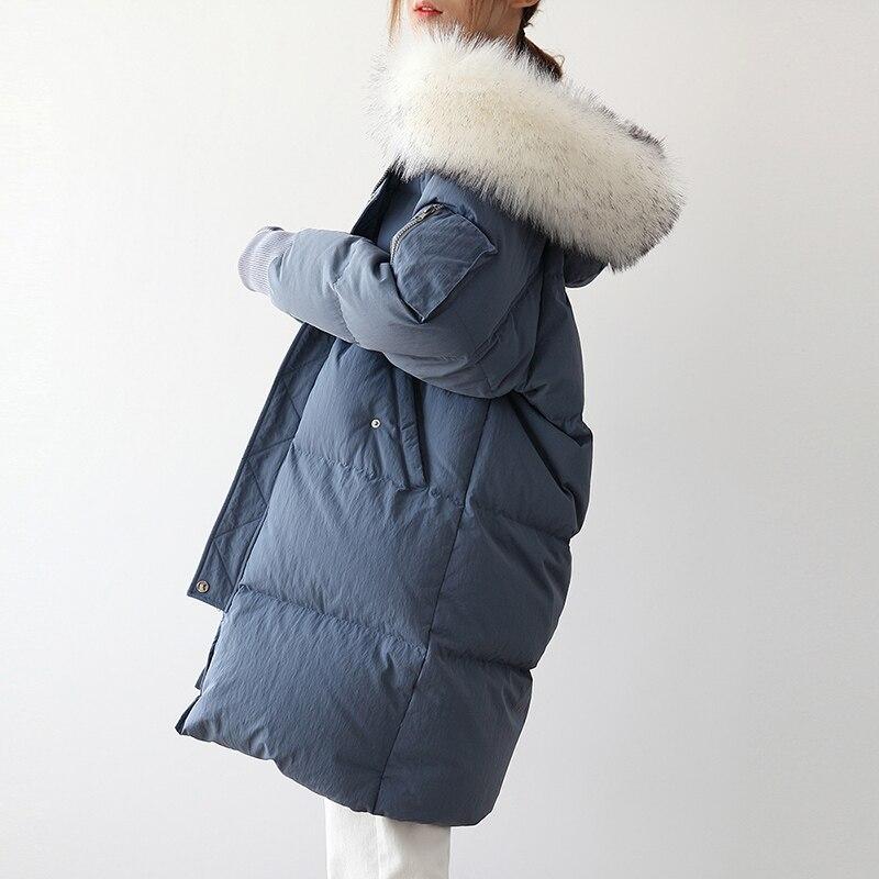 Winter   Coat   Women   Down   Jacket Women Large Fur Collar Long   Coats   Female Korean Parka 2018 Doudoune Femme Hiver YP2085