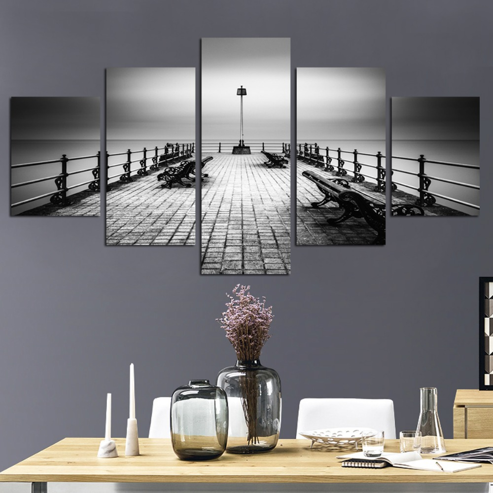 New in 2018 Canvas Painting Chairs 5 piece canvas Picture Print On Wall For Living Room Restaurant FA512