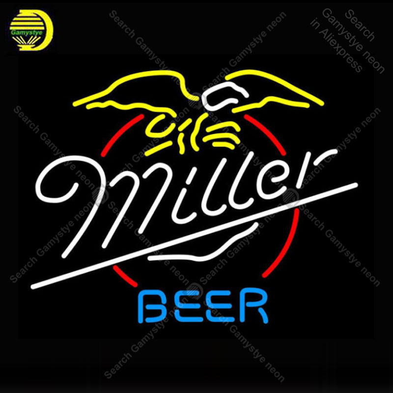 NEON SIGN For Miller Beer Eagle NEON Bulbs Sign Lamp Real GLASS Tube Decor Wall Club Room Handcraft Advertise custom neon light