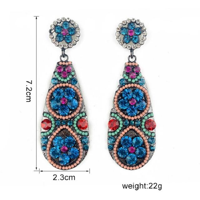 2017 brand Fashion Boho Big gem Crystal Drop earrings Gypsy Ethnic Vintage Long Channel Earrings For Women Jewelry wholesale
