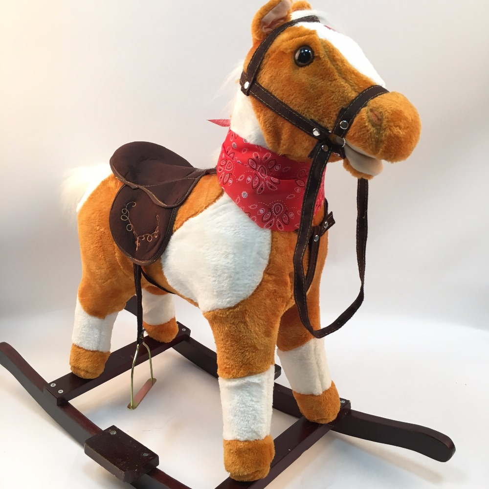 Free Shipping High Quality 3-8 Years Old Wooden Rocking Horses Walking Horse Toys Ride On Horse Toy Birthday Gifts For Children mother garden high quality wood toy wind story green tea wooden kitchen toys set