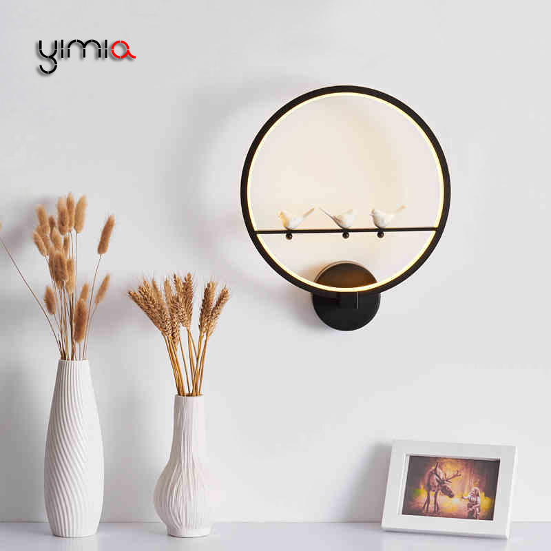 YIMIA Modern LED Wall Lamps 3 Birds Round Indoor Courtyard Aisle Balcony Kids Bedroom Wall Lights Nordic Hotel Project Lamps ...
