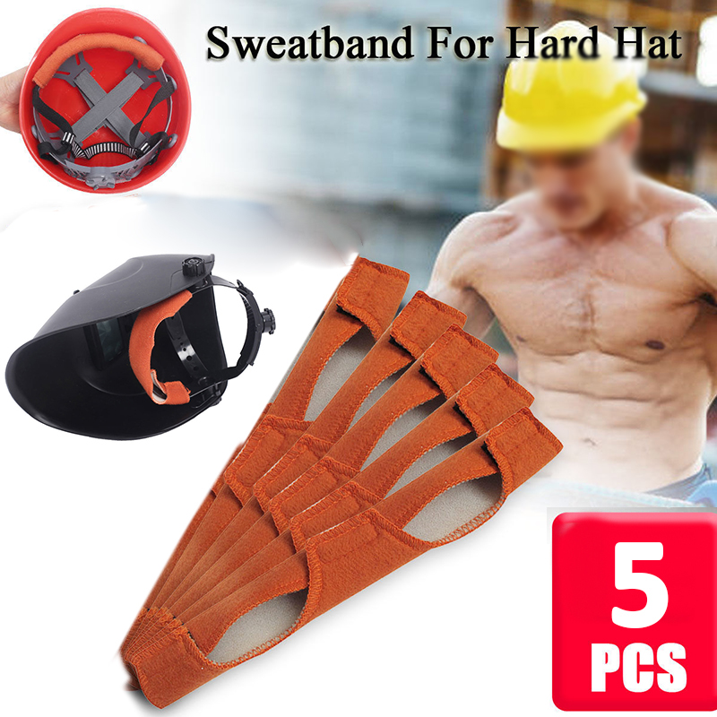 Durable 5pcs Orange Cotton Band Sweatbands For Welding Protective Helmet Mask Cap Hat Home Garden Supplies