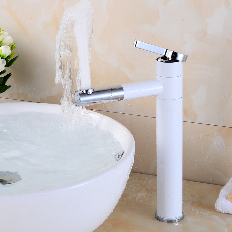 Universal Antique Basin Faucet Brass Paint White Faucet for Kitchen Single Handle Hole classic Deck Mount Mixer Water Taps - 2