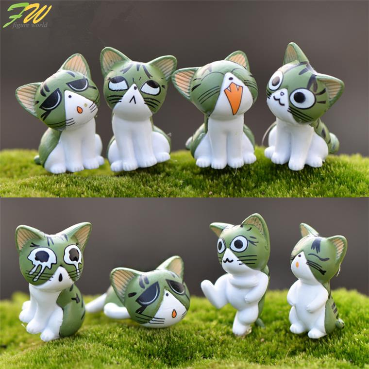 (8pcs/lot) Cheese cat miniature figurines toys cute lovely Model Kids Toys 2-3cm PVC japanese anime children figure world 160151 image