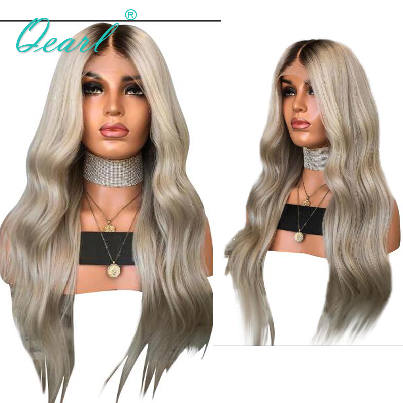 Human Hair Full Lace Wigs Ombre Ash Blonde Grey with Dark Roots Brazilian Remy Hair Natural