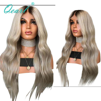 Human Hair Full Lace Wigs Ombre Ash Blonde Grey with Dark Roots Brazilian Remy Hair Natural Wave Pre Plucked Baby Hairs Qearl human hair full lace wigs baby hairs brazilian wavy remy hair for women ombre brown blonde pre plucked 150
