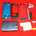 Синий Замена Полный Крышку Корпуса Чехол + Стеклянный Экран Объектив + Задняя Дверь Крышка Батарейного Отсека Чехол Для Samsung Galaxy S3 I9300 С логотипом