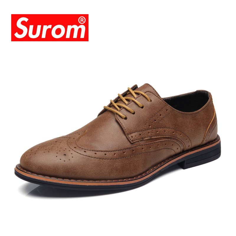 SUROM Mens Brogue Shoes Leather Casual Shoes Brand 2018 Spring Autumn New Fashion Breathable Leather Shoes Men Moccasins FlatsSUROM Mens Brogue Shoes Leather Casual Shoes Brand 2018 Spring Autumn New Fashion Breathable Leather Shoes Men Moccasins Flats