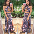 tie dye printed 2017 summer fashion women 2 piece dresses deep side split sexy club wear streetwear party maxi dress XD619
