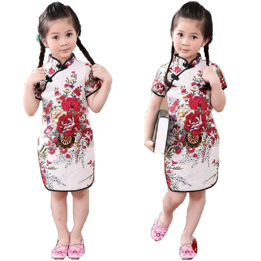 Rose Floral Baby Girls Qipao Dress Chinese Traditional Chi-pao Fashion New Year Children Dresses Kids Cheongsam Linen Clothes 3