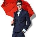 Pre-Sale Cajerin Качество 2015 Мужчины Лето Осень Тонкий Глубокий синий Молодой Человек Тонкий Формальной Свадьбы Жених Деловые Костюмы Куртки блейзер
