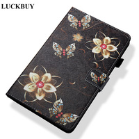 LUCKBUY For Amazon Kindle Fire HD 8 Inch Tablet Case Eiffel Tower Balloo Butterfly PU Leather