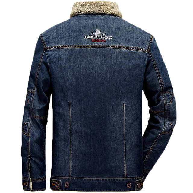 Plus Size M-6XL Fashion Denim Jacket Men Winter Wool Liner Warm Mens Jackets Brand Outwear Jeans Coats Male Cowboy Clothing 2