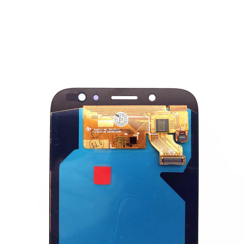 100% اختبار شاشات LCD عرض لسامسونج غالاكسي J7 برو 2017 J730 AMOLED LCD شاشة اللمس محول الأرقام تنظيم سطوع استبدال