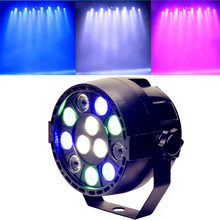 Mini Sound Activate DMX Control 12 LED RGBW Color Mixing Spotlight For Disco Party DJ Projector Lighting Effect (Black)(China)