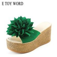 E TOY WORD flip flops Summer Women Platform Wedge Slippers Appliques flowers Beach Antiskid high heel Shoes
