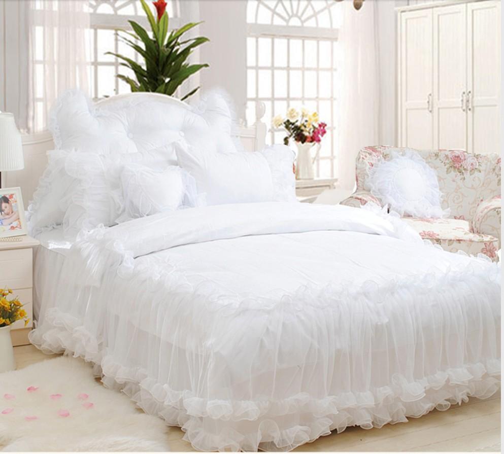 couvre lit en satin blanc De luxe de Neige Blanc Dentelle couvre lit Princesse ensemble de  couvre lit en satin blanc