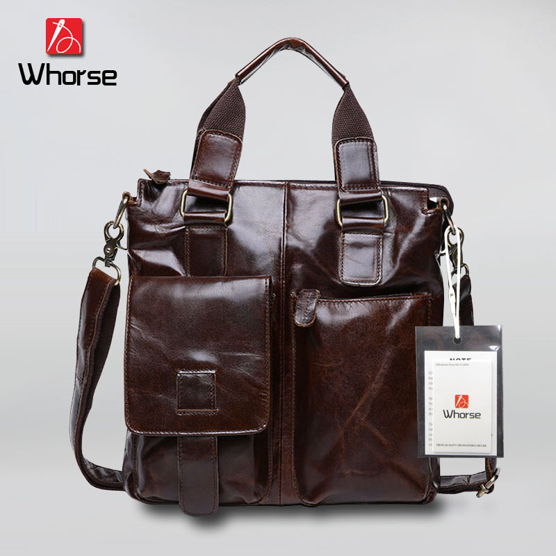 [WHORSE] Brand Genuine Leather Men's Messenger Bags Handbags Oil Wax Cowhide Male Crossbody Bag Vintage Men Business Briefcase купить