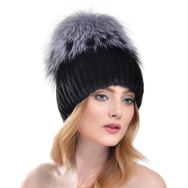 Fashion women  Knitted Mink Fur Hat Natural Silver Fox Fur Top Pom Beanie Fashion Cap winter beanies fur hat casual women's hat