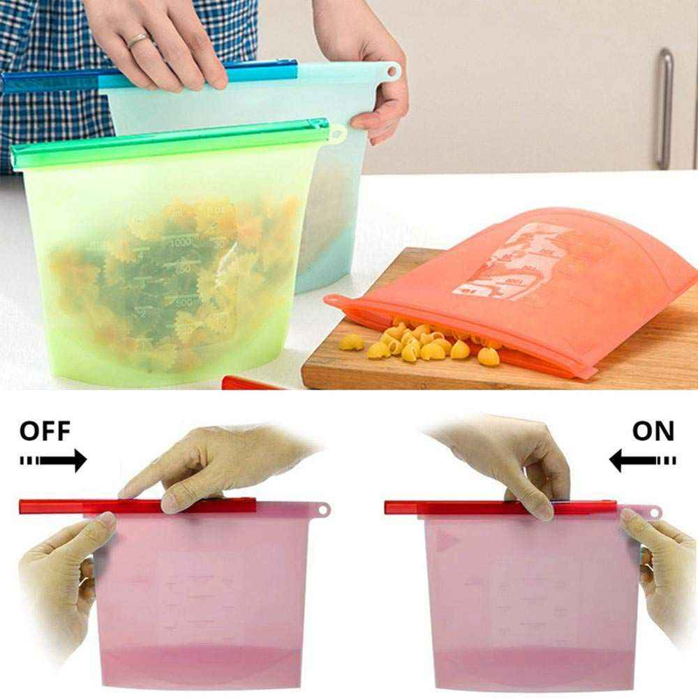 6 pcs Silicone Food Storage Bags,Reusable Leakproof Preservation Container with Airtight Sealfor, for Heating, Freezing, Micro