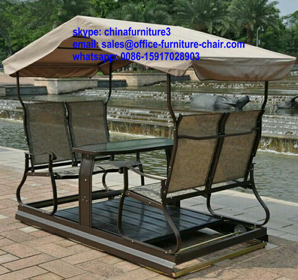 Patio Swing Bench Metal Canopy Swing Garden Hanging Swing Chair