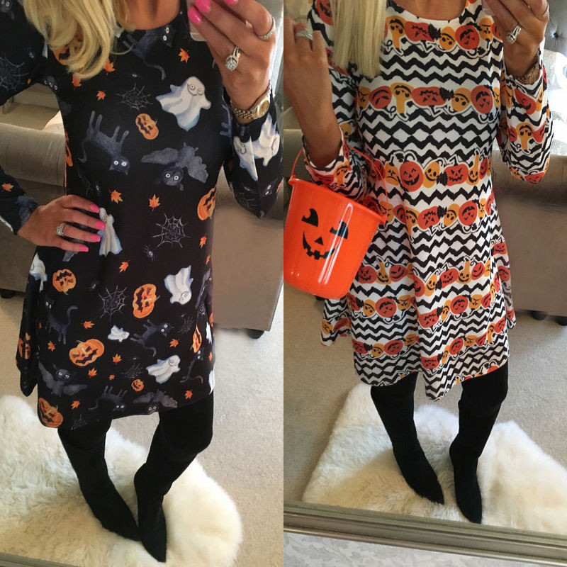 2016 Newest Women Halloween Dress Cute Ghost & Pumpkin Printed Long Sleeve Causal Dress Hot Selling