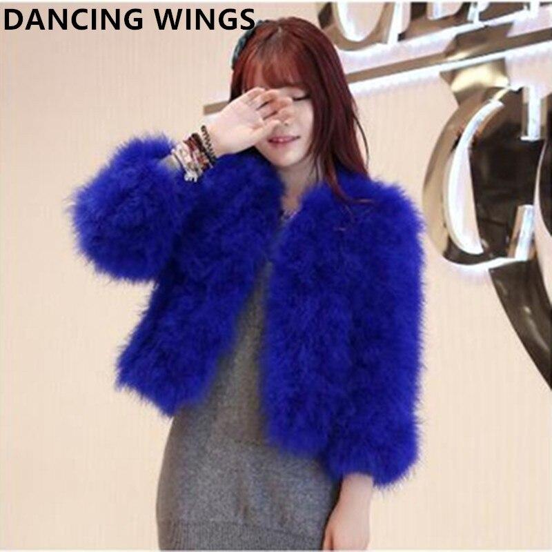 13 couleurs hiver épais chaud réel autruche plumes fourrure manteau court Design femmes vestes fourrure Outwear AS-1