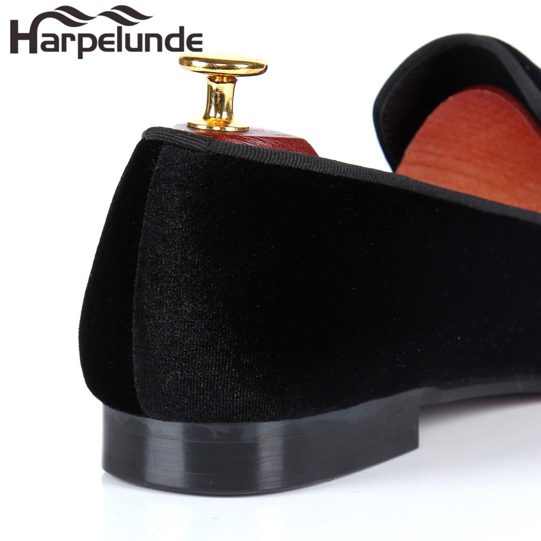 Loafers Harpelunde Bordados Homens Sapatas Borgonha 12 7 Velvet Vinho Dos Tamanho Vermelho Planas rn1YO1