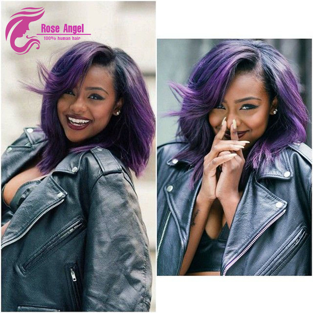 Purple Ombre Wig With Baby Hair Ombre Bob Wig For Black Women Bob