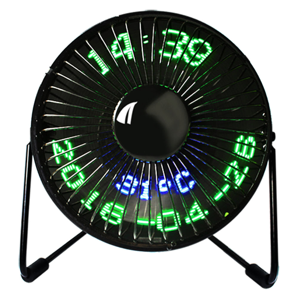Creative Hot USB LED Clock Mini Fan With Real Time Temperature Display Desktop 360 Cooling Fans for Home Office HY99 AU09 hot sale 6 inch 3 in 1 desktop ventilador usb fan temperature led display fan clock mini usb table fan cooler drop shipping